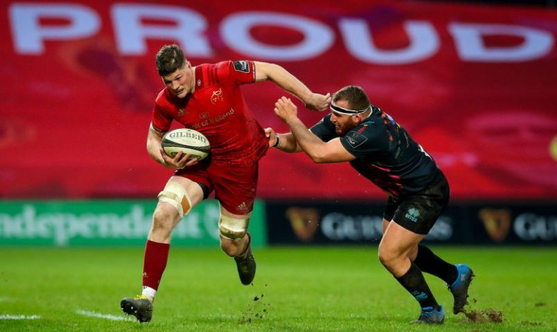 Jack O'Donoghue in Guinness PRO14 action at Thomond Park.