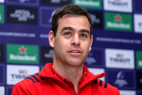 Munster Head Coach Johann van Graan speaking to the media this week.