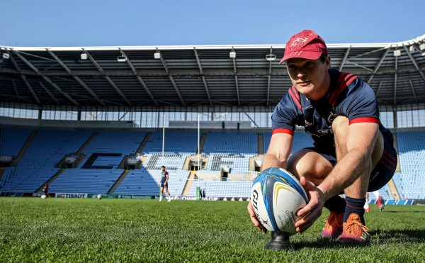 Tyler Bleyendaal practices kicking at the Ricoh Arena.