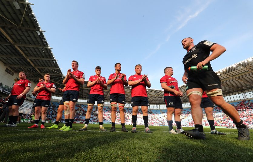 Members of the Munster team at full-time.