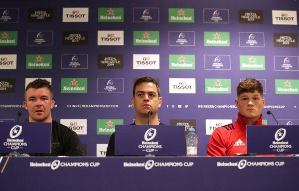 Peter O'Mahony, Johann van Graan and Jack O'Donoghue at the post-match press conference.