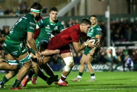 Dan Goggin scoring a try against Connacht in January.