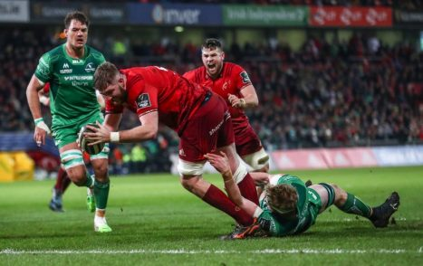 Darren O'Shea scores Munster's opening try against Connacht at Thomond Park last season.