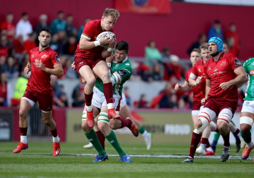 Mike Haley takes the high ball under pressure.