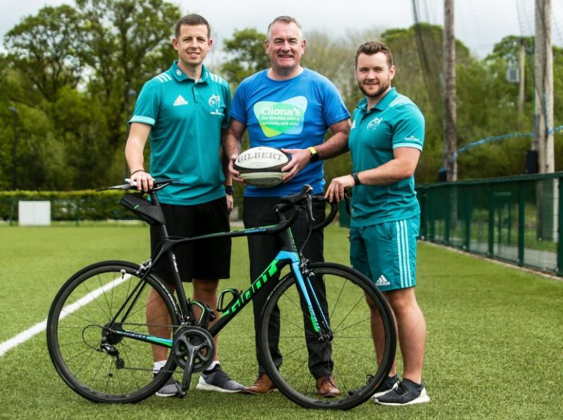 Munster physios Keith Thornhill and Marc Beggs with Cliona's Foundation Co-Founder Brendan Ring