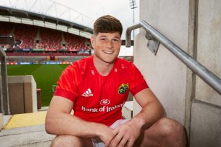 Jack O'Donoghue in the new Munster home kit at Thomond Park.