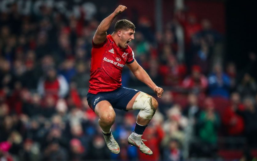 Dan Goggin celebrates Munster's Champions Cup win over Exeter Chiefs.
