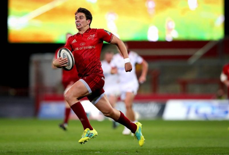 Joey Carbery on his way to scoring Munster
