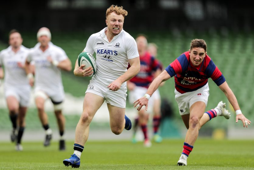 Rob Jermyn runs in a try in Cork Constitution's AIL Division 1A final win over Clontarf.