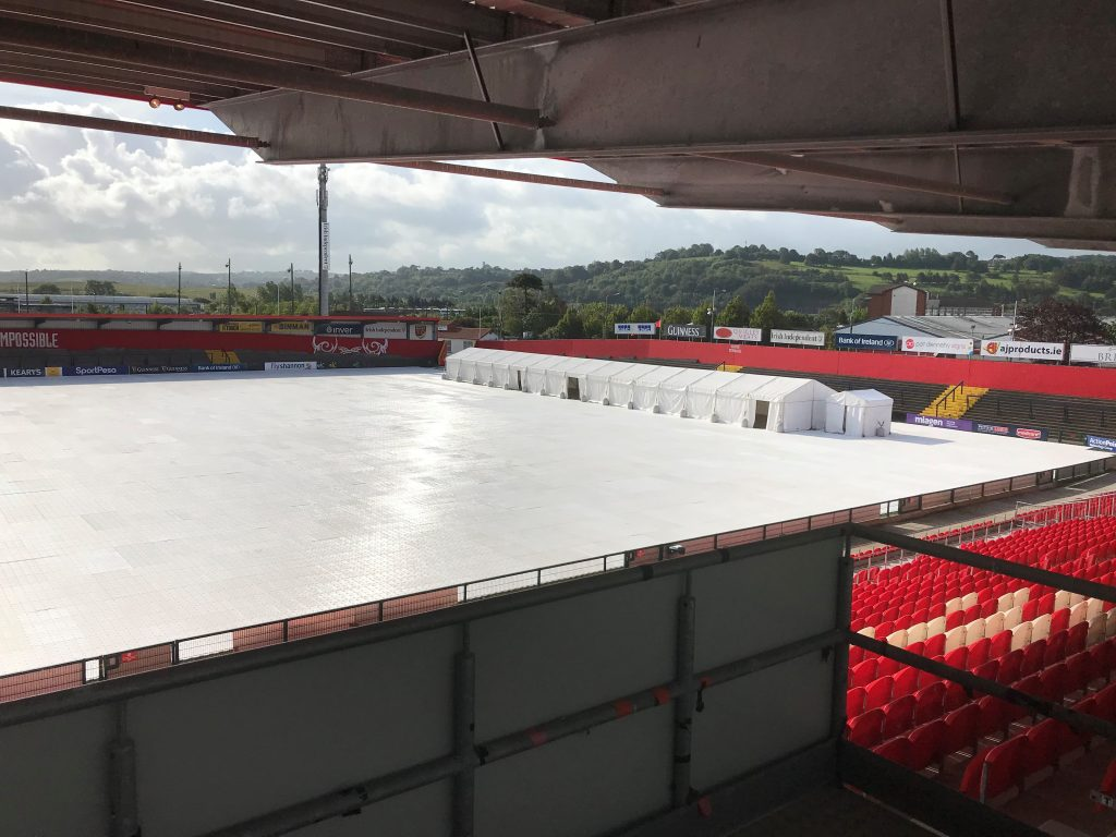 A view of the facilities being installed at Irish Independent Park for the concerts.