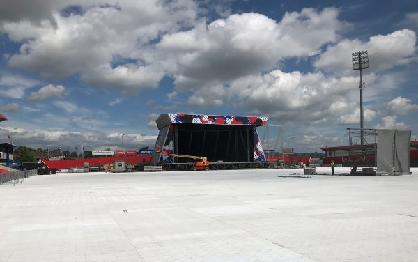 The stage being installed at the Pearse Road end of Irish Independent Park.