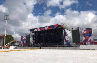 The stage at Irish Independent Park for the six upcoming concerts.