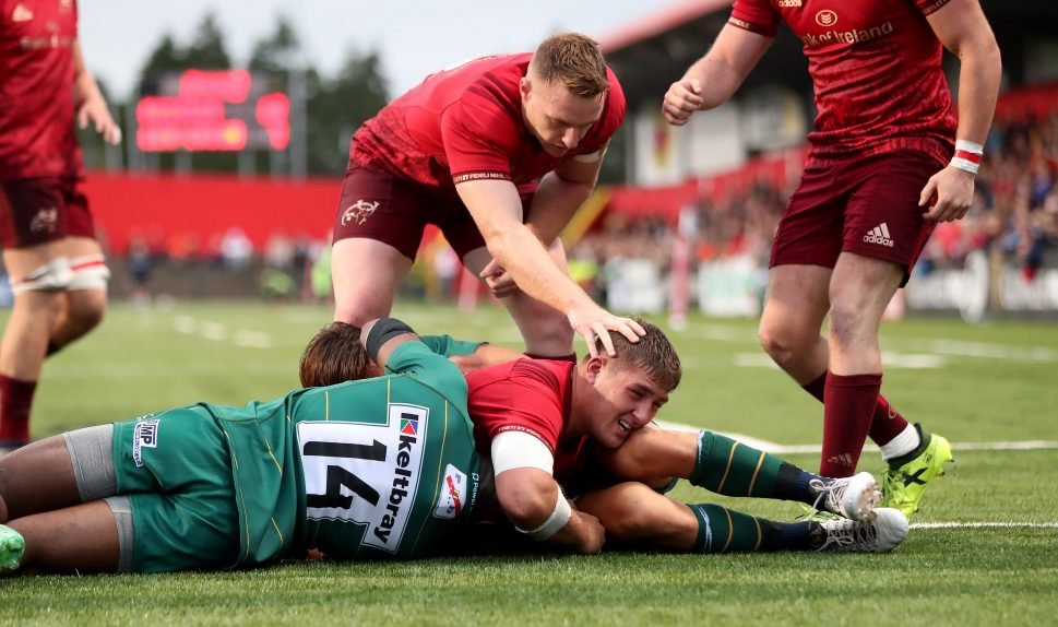 Dan Goggin scores against London Irish last season.