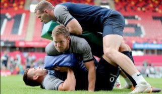 CJ Stander, Kieran Marmion and Chris Farrell in action at the Ireland training session.