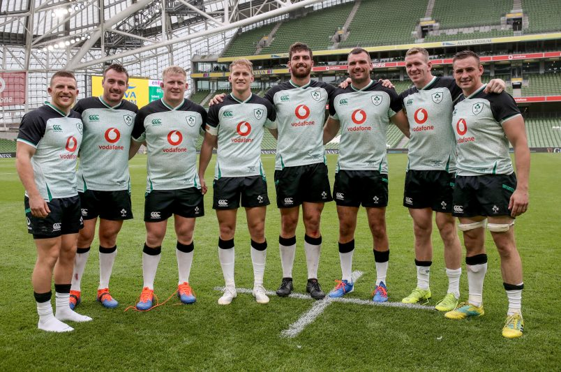 Andrew Conway, Niall Scannell, John Ryan, Mike Haley, Jean Kleyn, Tadhg Beirne, Chris Farrell and Tommy O'Donnell after the win over Italy.