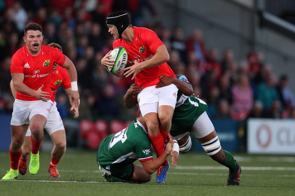 Tyler Bleyendaal and Calvin Nash in action against London Irish last weekend.
