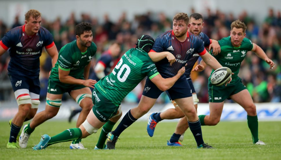 Liam O'Connor offloads to Alby Mathewson for Munster