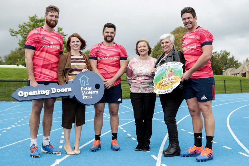 Darren O'Shea, Kevin O'Byrne and Billy Holland with Peter McVerry Trust's Head of Major Gifts & Partnerships Nell Ward and Jack & Jill Children's Foundation liaison nurses Mags Naughton and Eilín Ní Mhurchú at the launch of the province's nominated charity partnership.