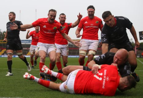 Nick McCarthy, Darren Sweetnam and Billy Holland celebrate Shane Daly