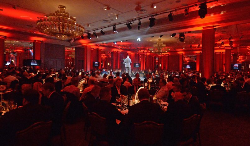 A view of the stage at the Munster Rugby London Dinner.