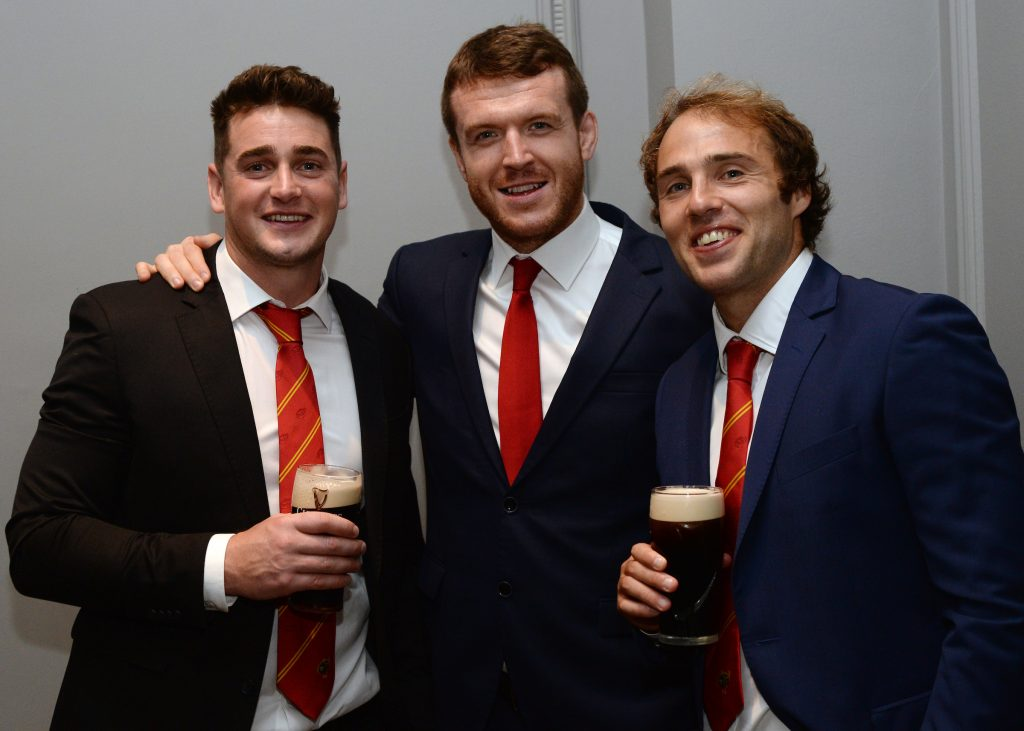 Former Munster players Ronan O'Mahony, Mike Sherry and Duncan Williams at the event.