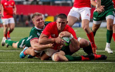 Dan Goggin scores against London Irish in the pre-season clash at Irish Independent Park.