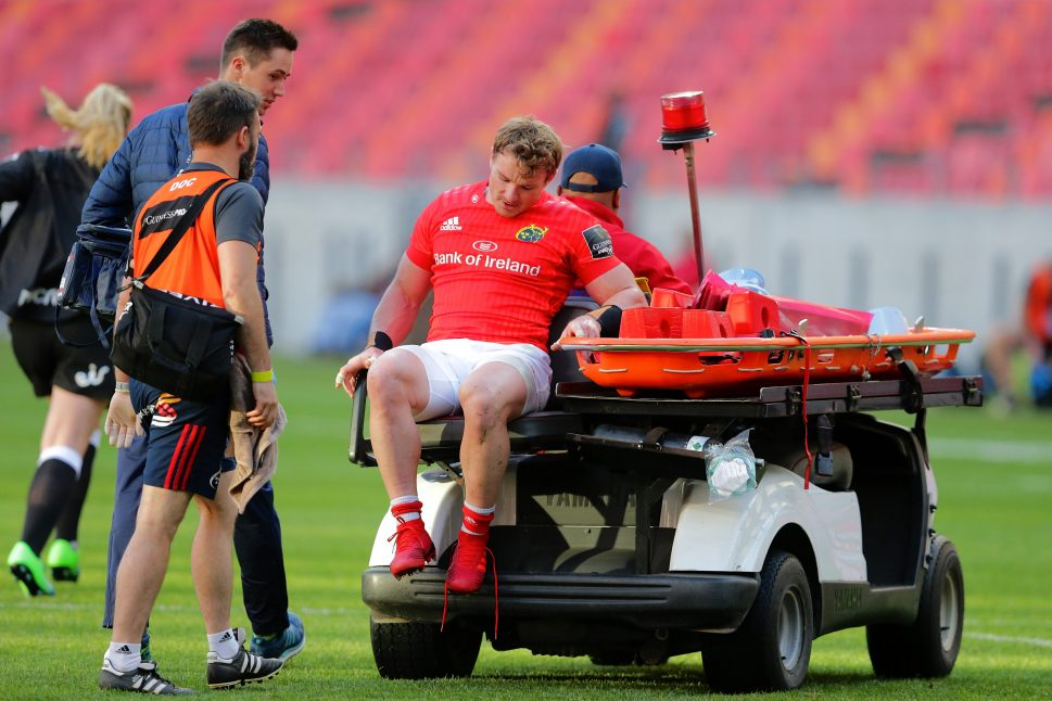Chris Cloete is helped off the pitch in Port Elizabeth.