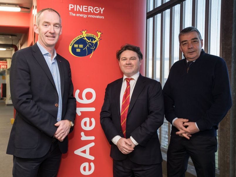 Enda Gunnell, Chief Executive Officer for PINERGY, pictured with Munster Rugby CEO Ian Flanagan and Thomond Park Stadium Director John Cantwell.