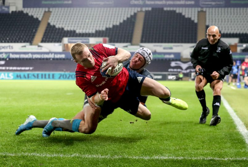 Keith Earls scores against Ospreys in Munster