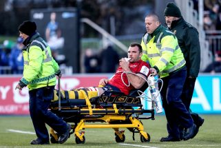 Tadhg Beirne leaves the field injured.
