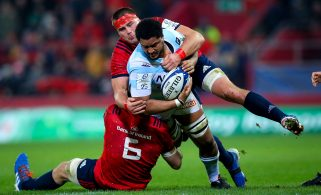 Peter O'Mahony and CJ Stander tackle Boris Palu.