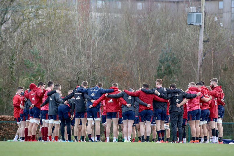 The Munster team huddle at training on Wednesday.