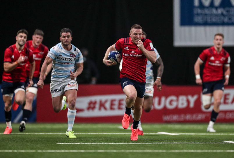 Andrew Conway races clear for the Munster try.