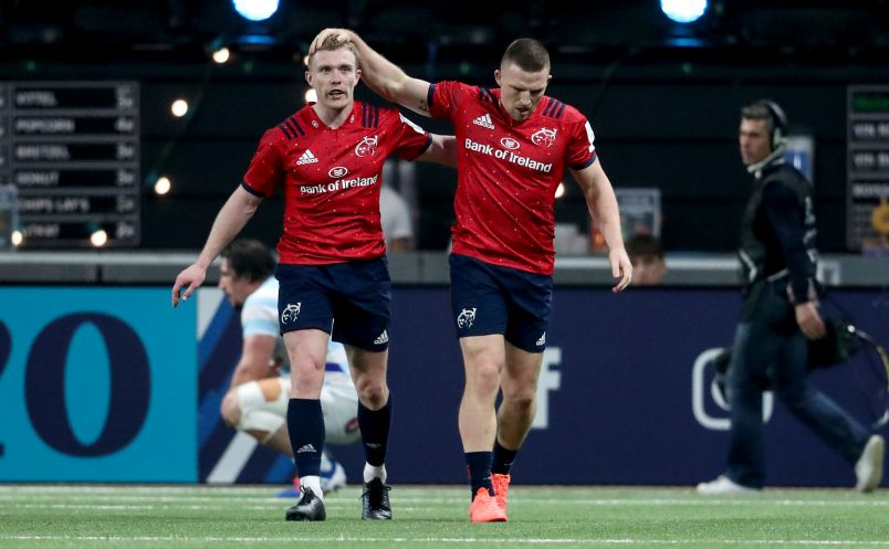 Keith Earls and Andrew Conway celebrate Conway