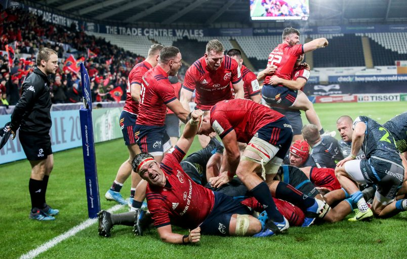 Munster players celebrate James Cronin