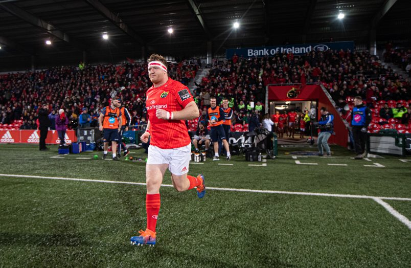 Stephen Archer leading Munster out on his 200th appearance last November.