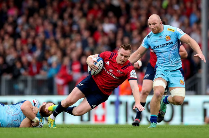 Rory Scannell in action against Exeter Chiefs last season.
