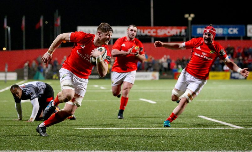 Jack O'Donoghue runs in for the fourth Munster try.