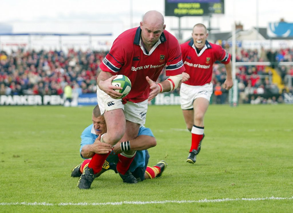 John Hayes scores one of his four tries in 217 Munster appearances against Perpignan at Musgrave Park in 2002.
