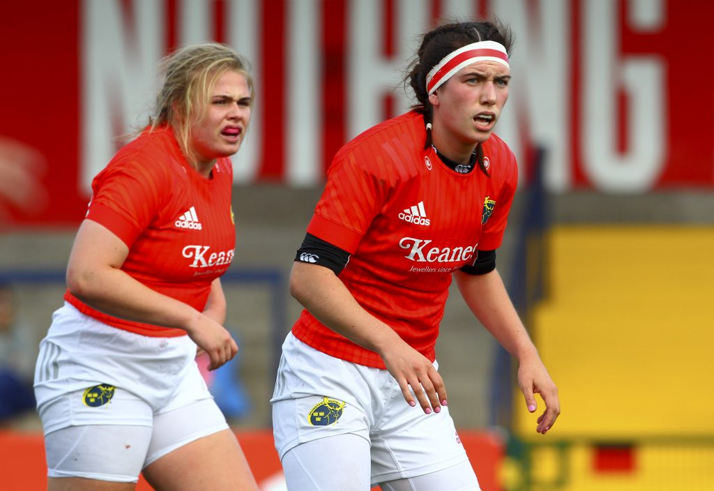 Wall (left) and Ciara O'Halloran in Interpro action for Munster last August.