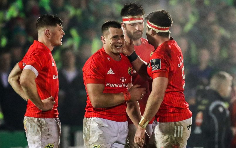 CJ Stander and Billy Holland celebrate winning away to Connacht.