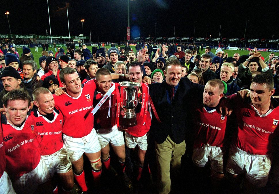 Munster celebrate winning the final standalone Interprovincial Championship in November 2000.