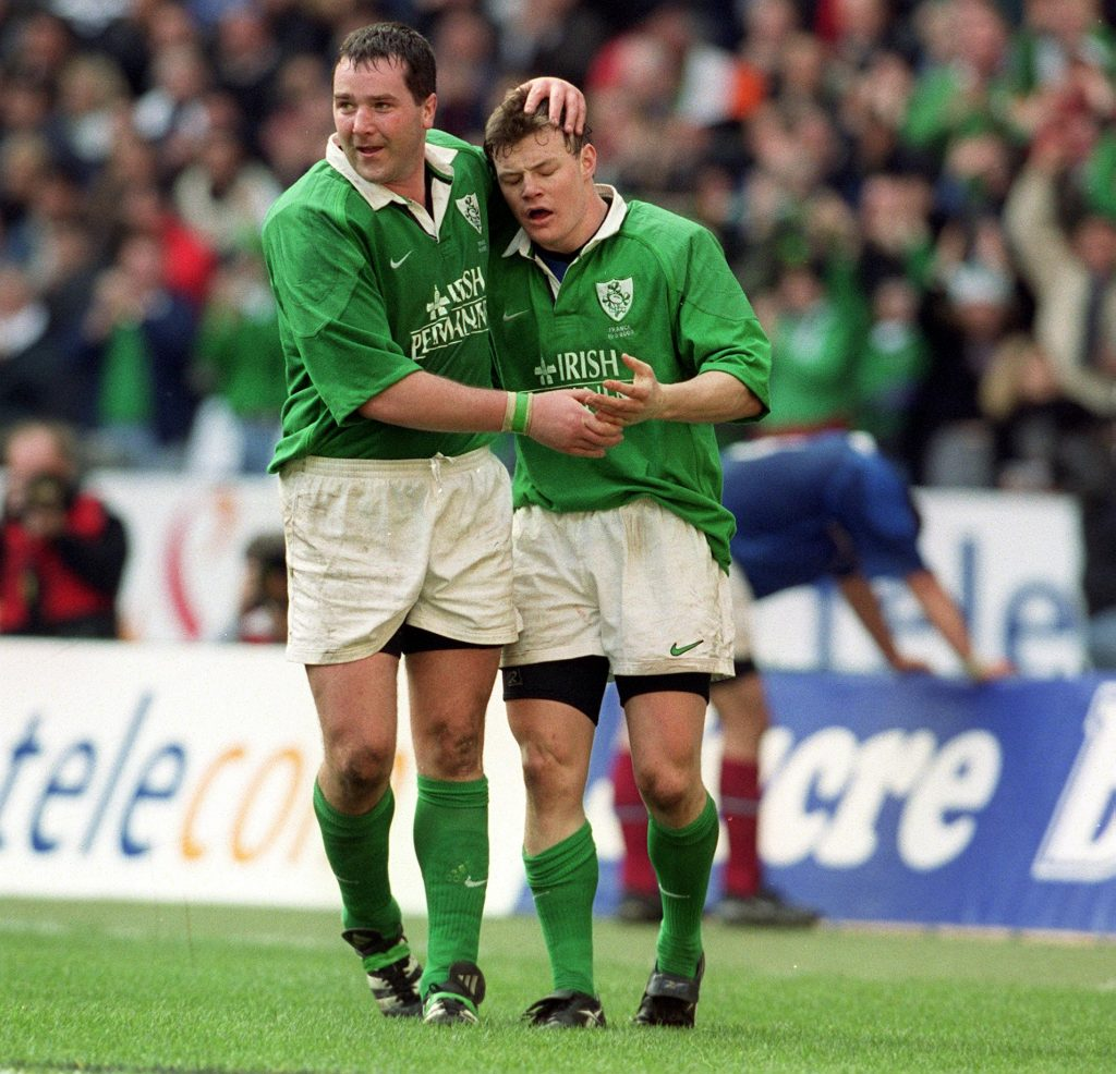 ANthony Foley with Brian O'Driscoll in the 2000 5 Nations win over France.