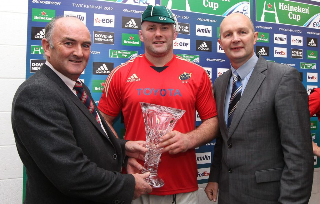 John Hayes receives his 100th Champions Cup cap.