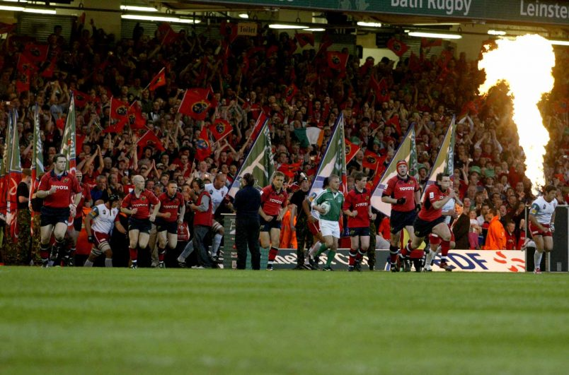 The Munster players take to the field in the 2006 European Cup final.