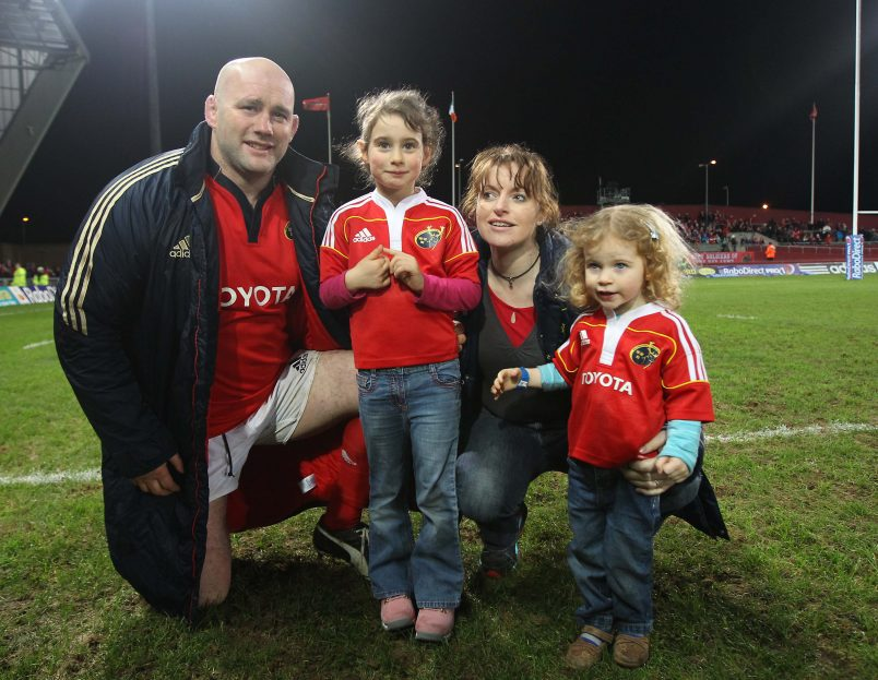 John Hayes after his final game with daughters Sally and Roisin and wife Fiona Steed, a former Ireland Women