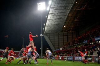 Gavin Coombes takes a lineout in Munster