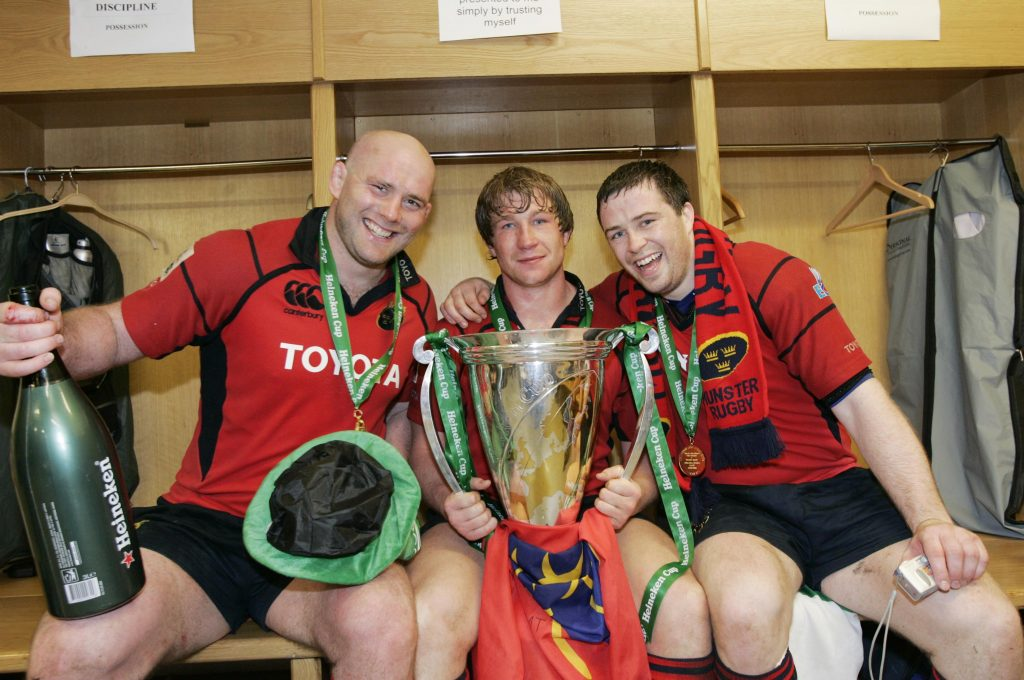 The front row of John Hayes, Jerry Flannery and Marcus Horan celebrate the 2006 European Cup win.