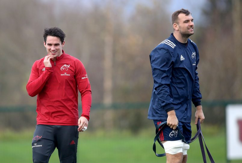 Joey Carbery and Tadhg Beirne (pictured at training in December) are both rehabbing well.