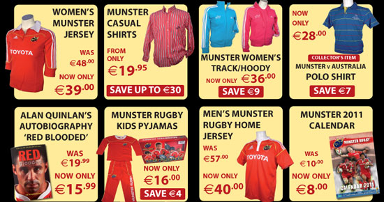 Munster Rugby Store New Items and Offers